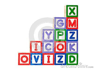 Stack of alphabet blocks