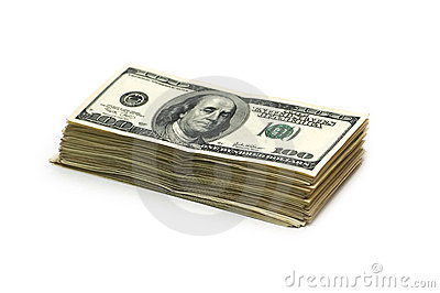 Stack of american dollars isolated