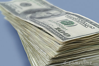 Stack of American paper money.