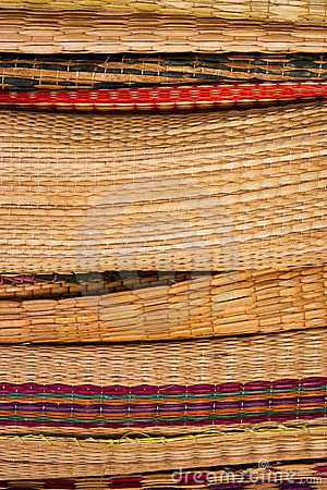 Stack of bamboo weave reed
