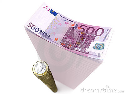 Stack of banknotes and coins of euro on isolated w