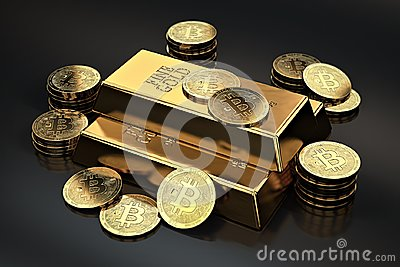 Stack of Bitcoins and gold ingots bullion bar. Cryptocurrencies as a future gold most precious commodity in the world Stock Photo