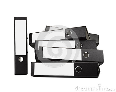 Stack of black office folders