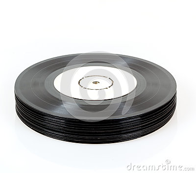 Stack of black vinyl records