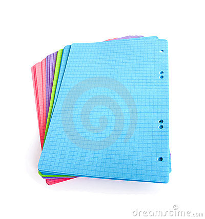 Stack of blank colored pages