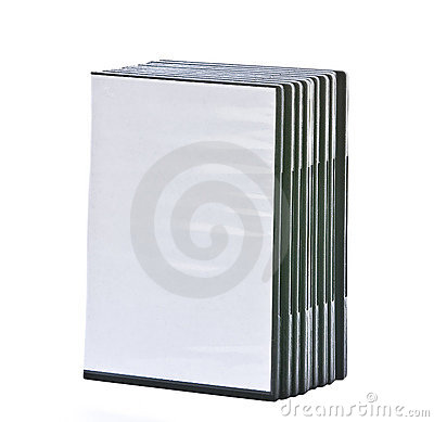 Stack of blank DVD cases