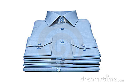 Stack of blue shirt