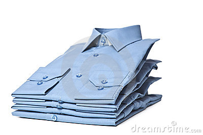 Stack of blue shirts