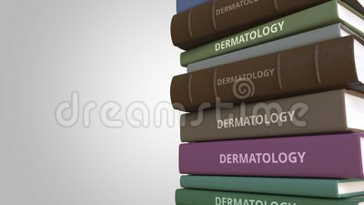 Book with DERMATOLOGY title, loopable 3D animation