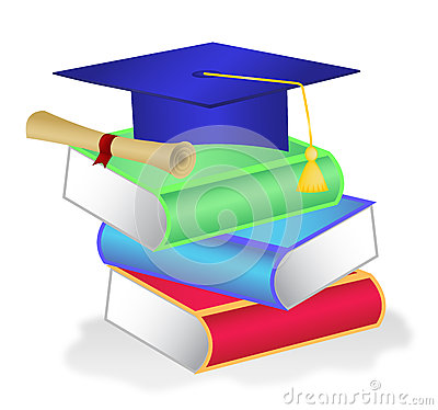 Stack of books with diploma on top