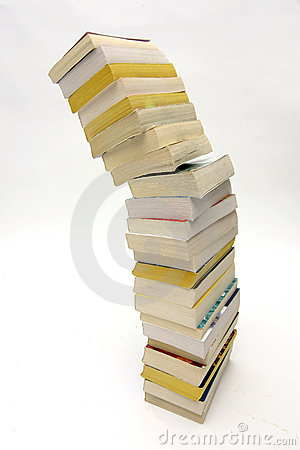 Stack of books falling