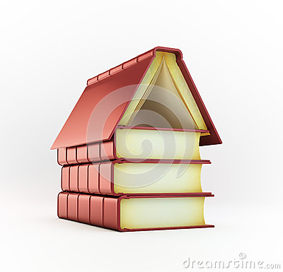 Stack of books forming a house