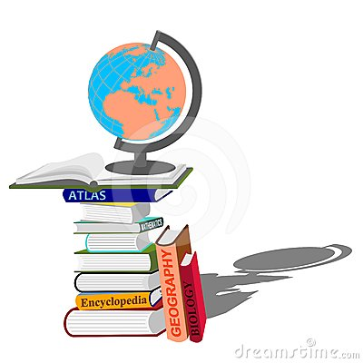 Stack of books with globe