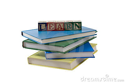 Stack of books with learn