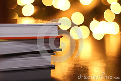 Stack of Books with Lights