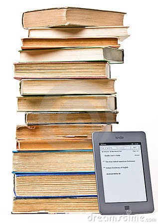 Stack of Books Next to Kindle Touch EReader Editorial Photo