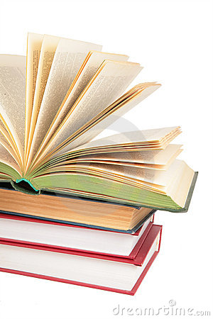 Stack of books with opened book 2