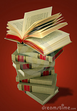 Stack of Books on Red