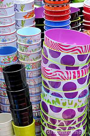 Stack of bowls and cups in various color