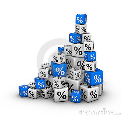 Stack of boxes with percent sign