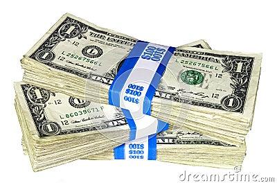 Stack of Bundled One-Dollar Notes