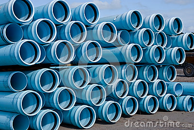 Stacks of C900 DR18 PVC Pipe
