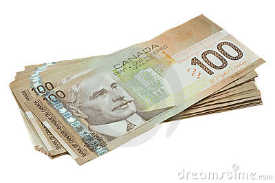 A stack of Canadian one hundred dollar bills