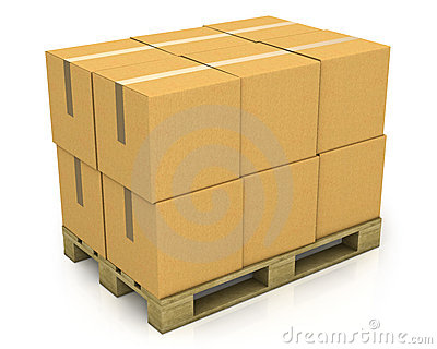 Stack of carton boxes on a pallet