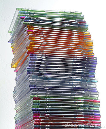 Stack of CD jewel boxes