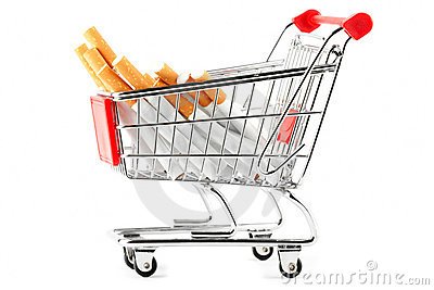 Stack of cigarettes in the shopping cart