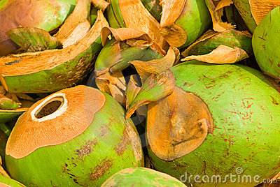 A stack of coco nuts