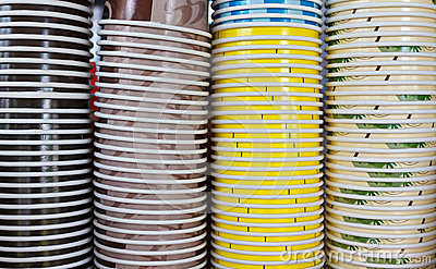 Stack of coffee paper cups