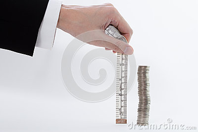 Stack of coin measured in centimetre