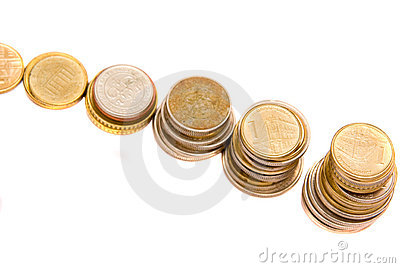 Stack of coins arranged like steps