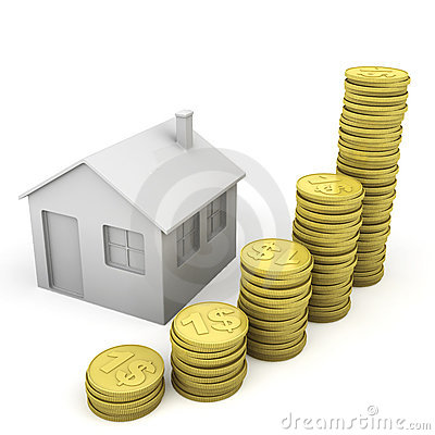 Stack of coins and house icon