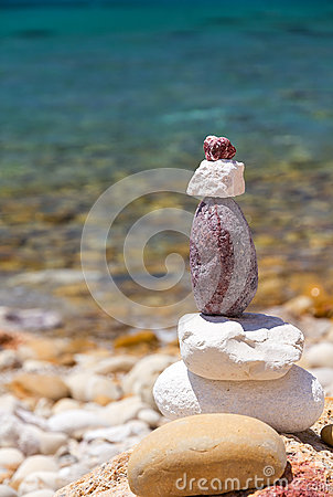 Stack of colored stones at the beach