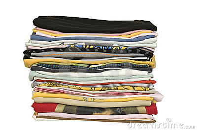 Stack of colored t-shirt