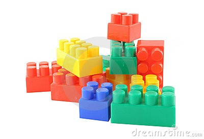 Stack of colorful building blocks