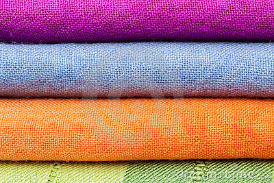 Stack of colorful cotton cloth