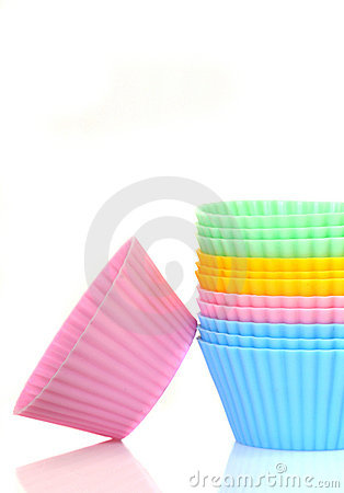 Stack of colorful cupcake liners