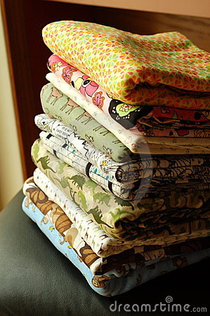 Stack of colorful fabrics