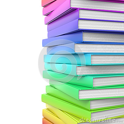 Stack of colorful glossy books.