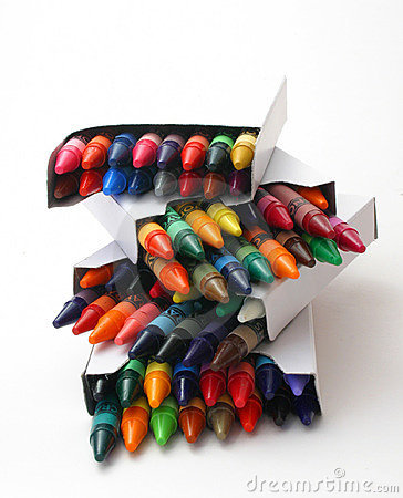 Stack Of Crayon Boxes Over White