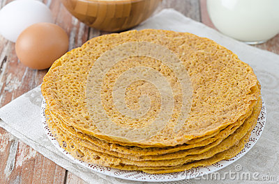 Stack of crepes made of corn flour