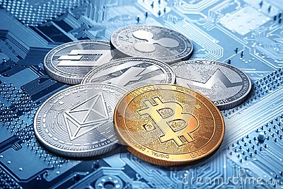 Stack of cryptocurrencies: bitcoin, ethereum, litecoin, monero, dash, and ripple coin together, 3D rendering. Stock Photo