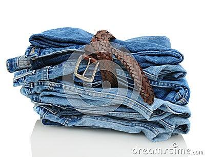 Stack of Denim Blue Jeans with Belt