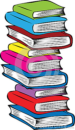 books stack different colored cartoon vector pile illustration