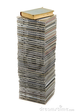 Stack of disks and book