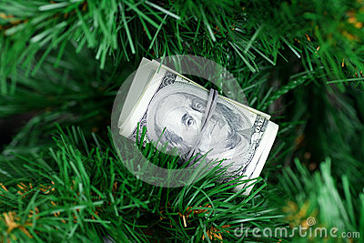 Stack of dollars on the green tree