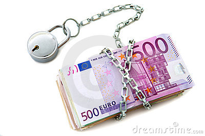 Stack of euro notes chained up.